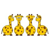 tobias Cartoon Giraffe  front back and side views