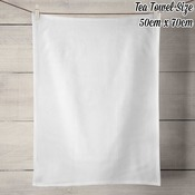 100% Linen Tea Towel - White